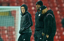 LIVERPOOL, ENGLAND - Wednesday, January 30, 2019: Leicester City's Jamie Vardy and captain Wes Morgan on the pitch before the FA Premier League match between Liverpool FC and Leicester City FC at Anfield. (Pic by David Rawcliffe/Propaganda)