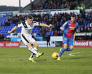 Inverness&rsquo; David Raven can't stop Dundee&rsquo;s Rhys Healy firing in a shot - Inverness Caledonian Thistle v Dundee at Caledonian Stadium, Inverness<br /> <br />  - &copy; David Young - www.davidyoungphoto.co.uk - email: davidyoungphoto@gmail.com