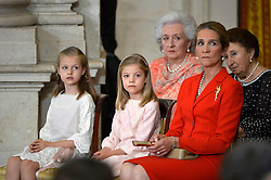 18.06.2014, Royal Palace, Madrid, ESP, Abdankung König Juan Carlos, Unterzeihnung der Abdankungspapiere, im Bild (L-R) Princess Leonor of Spain, Princess Sofia of Spain and Princess Elena of Spain // during the official abdication ceremony at the Royal Palace in Madrid, Spain on 2014/06/18. EXPA Pictures © 2014, PhotoCredit: EXPA/ Alterphotos/ Pool<br /> <br /> *****ATTENTION - OUT of ESP, SUI*****