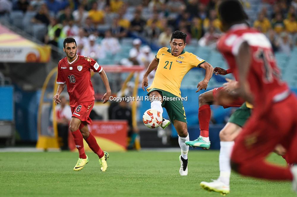 13.01.2015.  Sydney, Australia. AFC Asian Cup Group A. Australia versus Oman. Australian midfielder Massimo Luongo in action. Australia won the game 4-0.