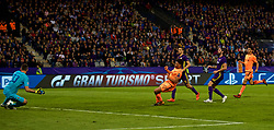 MARIBOR, SLOVENIA - Tuesday, October 17, 2017: Liverpool's Alex Oxlade-Chamberlain scores the sixth goal during the UEFA Champions League Group E match between NK Maribor and Liverpool at the Stadion Ljudski vrt. (Pic by David Rawcliffe/Propaganda)