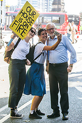 London, UK. 20 September, 2019. Leader of the Opposition Jeremy Corbyn is greeted with a selfie by two climate campaigners as he arrives to address the second Global Climate Strike in protest against a lack of urgent action by the UK Government to combat the global climate crisis. The Global Climate Strike grew out of the Fridays for Future movement and is organised in the UK by the UK Student Climate Network.