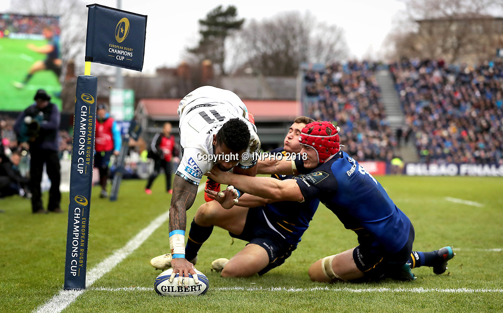 European Rugby Champions Cup Round 5, RDS, Dublin 14/1/2018<br /> Leinster vs Glasgow Warriors<br /> Glasgow Warriors' Niko Matawalu scores a try despite efforts from Jordan Larmour and Josh van der Flier of Leinster<br /> Mandatory Credit &copy;INPHO/Ryan Byrne