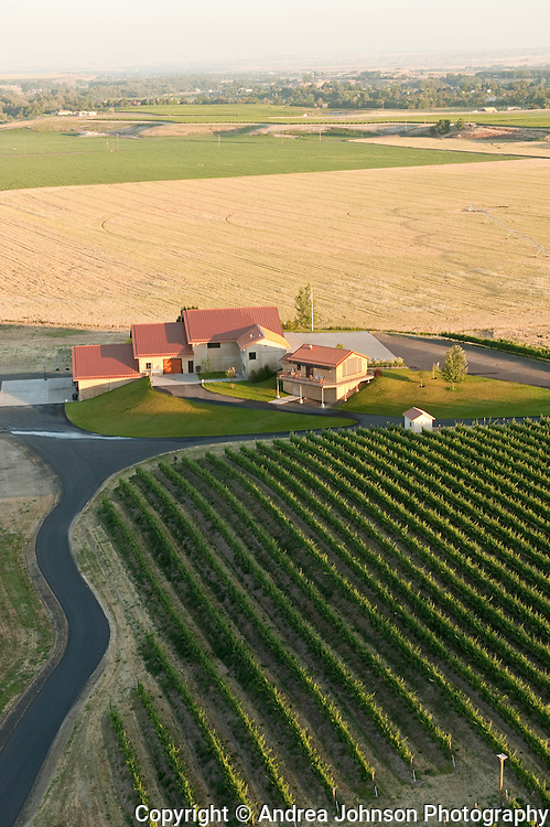 Aerial views over Walla Walla vineyards, Eastern Washington