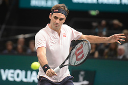 November 1, 2018 - Paris, France - ROGER FEDERER of Switzerland in his third round match in the Rolex Paris Masters tennis tournament in Paris France. (Credit Image: © Christopher Levy/ZUMA Wire)