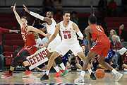 SMU Mustangs forward Ethan Chargois (25) defends against Hartford Hawks guard Moses Flowers (4) while Miroslav Stafl (12) asks for the ball being guarded by Tyson Jolly (0) during an NCAA college basketball game, Wednesday, Nov. 27, 2019, in Dallas.SMU defeated Hartford 90-58. (Wayne Gooden/Image of Sport)
