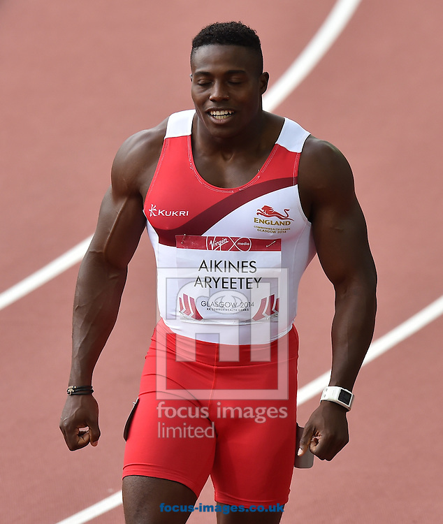 Harry Aikines-Aryeetey (England) fails to qualify for the final competing in the 100m  on day two at Hampden Park, Glasgow<br /> Picture by Alan Stanford/Focus Images Ltd +44 7915 056117<br /> 28/07/2014