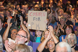 © Licensed to London News Pictures . 23/07/2016 . Salford , UK . Supporters at the event . Jeremy Corbyn launches his campaign to be re-elected Labour Party leader , at the Lowry Theatre at Salford Quays . Photo credit : Joel Goodman/LNP