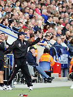 Photo: Mark Stephenson.<br /> Leicester City v Stoke City. Coca Cola Championship. 29/09/2007.Stoke's manager Tony Pulis on the side lines