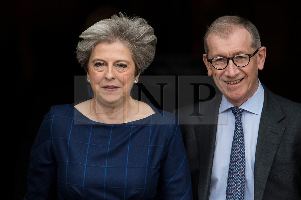 © Licensed to London News Pictures. 04/10/2017. Manchester, UK. British prime minister THERESA MAY  with her Husband, PHILIP MAY at Conservative Party Conference. The four day event is expected to focus heavily on Brexit, with the British prime minister hoping to dampen rumours of a leadership challenge. Photo credit: Ben Cawthra/LNP