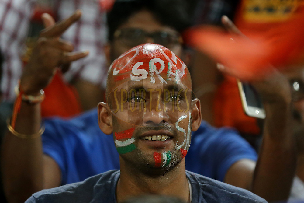 Sunrisers Hyderabad fans during match 42 of the Vivo IPL 2016 (Indian Premier League ) between the Sunrisers Hyderabad and the Delhi Daredevils held at the Rajiv Gandhi Intl. Cricket Stadium, Hyderabad on the 12th May 2016<br /> <br /> Photo by Faheem Hussain / IPL/ SPORTZPICS