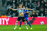 Matt Ritchie (#11) of Newcastle United controls the ball under pressure from Nathaniel Mendez-Laing (#19) of Cardiff City during the Premier League match between Newcastle United and Cardiff City at St. James's Park, Newcastle, England on 19 January 2019.