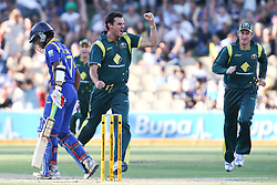 © Licensed to London News Pictures. 08/03/2012. Adelaide Oval, Australia. Australian bowler Clint McKay celebrates after getting the wicket of Dinesh Chandimal LBW for 5 runs during the One Day International cricket match final between Australia Vs Sri Lanka. Photo credit : Asanka Brendon Ratnayake/LNP