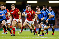 Wales Scrum-Half Gareth Davies breaks to set up a try for Winger Hallam Amos (L) - Mandatory byline: Rogan Thomson/JMP - 07966 386802 - 20/09/2015 - RUGBY UNION - Millennium Stadium - Cardiff, Wales - Wales v Uruguay - Rugby World Cup 2015 Pool A.