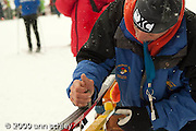 Ski prep before MN State Classic Ski Race at Giants Ridge.