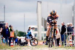 Jip van den Bos (NED) crosses the cobbles at Boels Ladies Tour 2019 - Prologue, a 3.8 km individual time trial at Tom Dumoulin Bike Park, Sittard - Geleen, Netherlands on September 3, 2019. Photo by Sean Robinson/velofocus.com