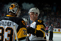 REGINA, SK - MAY 25: Matthew Strome #18 reacts the loss with Kaden Fulcher #33 of Hamilton Bulldogs against the Regina Pats at the Brandt Centre on May 25, 2018 in Regina, Canada. (Photo by Marissa Baecker/CHL Images)