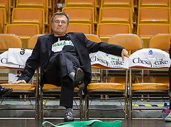 Dec 17, 2015; Charleston, WV, USA; Marshall Thundering Herd head coach Dan D'Antoni sits on the bench and watches warm ups prior to their game against the West Virginia Mountaineers at the Charleston Civic Center . Mandatory Credit: Ben Queen-USA TODAY Sports