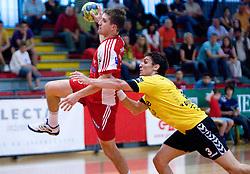 Ales Smejc vs Jure Dobelsek at handball match of MIK 1st Men league between RD Slovan and RK Gorenje Velenje, on May 16, 2009, in Arena Kodeljevo, Ljubljana, Slovenia. Gorenje won 27:26. (Photo by Vid Ponikvar / Sportida)
