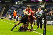 Chris Dean makes a crucial tackle in front of the try line during the Guinness Pro 14 2017_18 match between Edinburgh Rugby and Munster Rugby at Myreside Stadium, Edinburgh, Scotland on 16 March 2018. Picture by Kevin Murray.