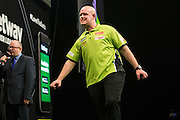 Michael van Gerwen misses a dart at a double to win a leg  during the Premier League Darts  at the Motorpoint Arena, Cardiff, Wales on 31 March 2016. Photo by Shane Healey.