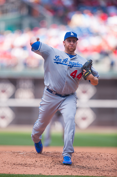 PHILADELPHIA, PA - JUNE 07: Aaron Harang #44 of the Los Angeles Dodgers pitches during the game against the Philadelphia Phillies at Citizens Bank Park on June 7, 2012 in Philadelphia, Pennsylvania. (Photo by Rob Tringali) *** Local Caption *** Aaron Harang
