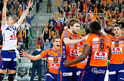 Players of ACH celebrate after winning the volleyball match between ACH Volley and Lube Banca Marche Macerata (ITA) in 5th Leg of Pool D of 2013 CEV Champions League on December 5, 2012 in Arena Stozice, Ljubljana, Slovenia. ACH defeated Macerata 3-1. (Photo By Vid Ponikvar / Sportida)