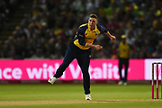 Daniel Lawrence of Essex Eagles bowling during the Vitality T20 Finals Day 2019 match between Worcestershire County Cricket Club and Essex County Cricket Club at Edgbaston, Birmingham, United Kingdom on 21 September 2019.