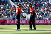 Jason Roy of England and Jos Buttler of England touch gloves during the International T20 match between England and Australia at Edgbaston, Birmingham, United Kingdom on 27 June 2018. Picture by Graham Hunt.