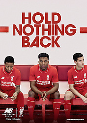 LIVERPOOL, ENGLAND - Friday, April 10, 2015: Liverpool's New Balance 2015/16 home kit worn by Raheem Sterling, Daniel Sturridge and Philippe Coutinho Correia. (Pic by New Balance/Propaganda)