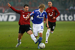 06.11.2011, AWD-Arena, Hannover, GER, 1.FBL, Hannover 96 vs FC Schalke 04, im Bild Teemu Pukki (Schalke #20) wird von Christian Schulz (Hannover #19) gestoert .// during the match from GER, 1.FBL, Hannover 96 vs  FC Schalke 04 on 2011/11/06, AWD-Arena, Hannover, Germany. .EXPA Pictures © 2011, PhotoCredit: EXPA/ nph/  Schrader       ****** out of GER / CRO  / BEL ******