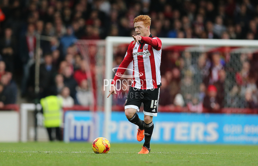 Brentford midfielder Ryan Woods during the Sky Bet Championship match between Brentford and Brighton and Hove Albion at Griffin Park, London, England on 26 December 2015.
