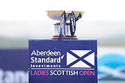 The trophy gets wet during the final round of the Aberdeen Standard Investment Ladies Scottish Open 2018 at Gullane Golf Club, Gullane, Scotland on 29 July 2018. Picture by Kevin Murray.