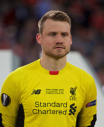 BASEL, SWITZERLAND - Wednesday, May 18, 2016: Liverpool's goalkeeper Simon Mignolet lines-up before the UEFA Europa League Final against Sevilla at St. Jakob-Park. (Pic by David Rawcliffe/Propaganda)