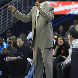 11 February 2009: New Orleans Hornets coach Byron Scott instructs his team during a NBA game between the Boston Celtics and the New Orleans Hornets at the New Orleans Arena in New Orleans, LA.