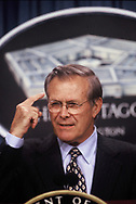 Secretary of Defense Donald Rumsfeld at a press briefing at the Pentagon in June 2001.<br /> <br /> Photo by Dennis Brack