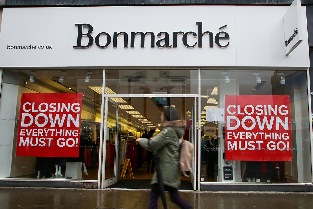 © Licensed to London News Pictures. 23/11/2019. London, UK. Closing down signs on display in the widow of  Bonmarche store in Wood Green, North London. Early this month Bonmarche collapsed into administration, with a loss of 2900 jobs. Photo credit: Dinendra Haria/LNP
