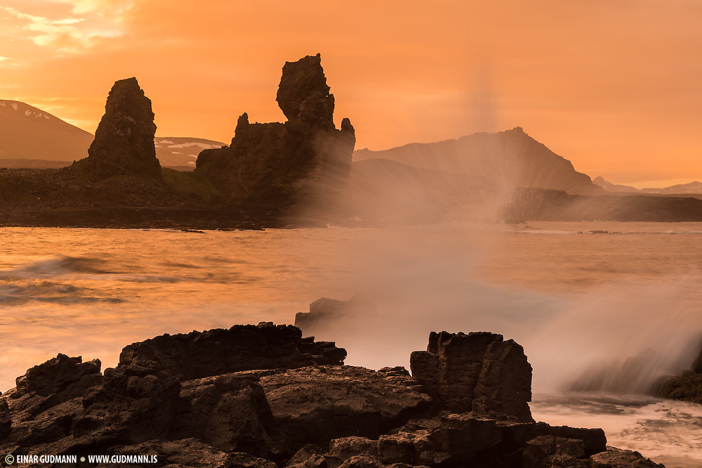 Malarrif in Snæfellsnes peninsula. Sunset.