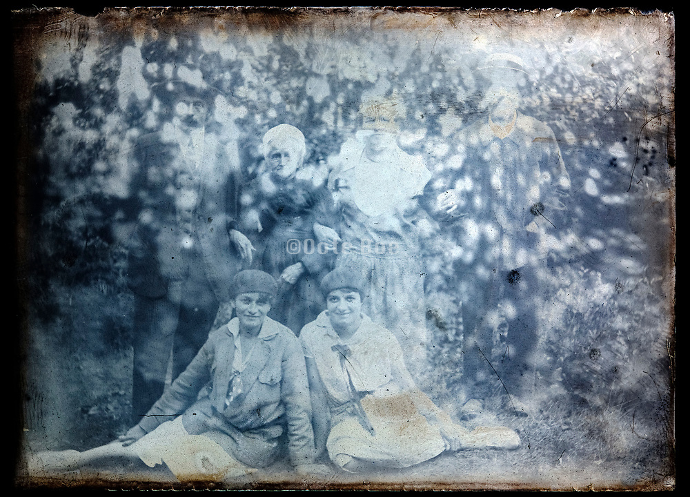 extreme damaged emulsion with family group portrait circa 1920s