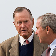 President Bush and First Lady Laura Bush, attend church services with former Pres. George H. W. Bush and Barbara Bush in Kennebunkport, Maine (ME) Sunday, August 27, 2006...Photo by Khue Bui