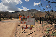 Areas of the Huachuca Mountains near the Coronado National Monument in the Coronado National Forest are closed to the public weeks after the fire in Sierra Vista, Arizona, USA.