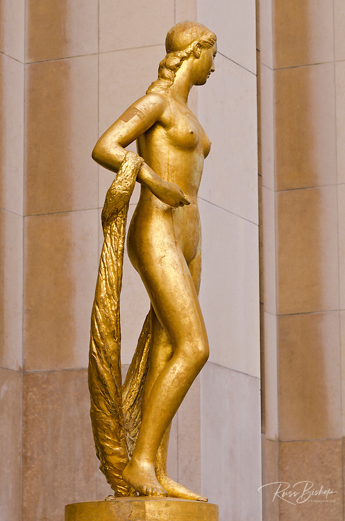Golden Statue at Trocadero Square, Paris, France