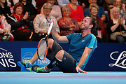 Xavier Malisse laughing on the ground during the Champions Tennis match at the Royal Albert Hall, London, United Kingdom on 6 December 2018. Picture by Ian Stephen.