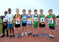 21 Aug 2016:  U8 Boys 60m finalists.  2016 Community Games National Festival 2016.  Athlone Institute of Technology, Athlone, Co. Westmeath. Picture: Caroline Quinn