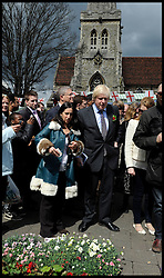 London Mayor Boris Johnson visits Borough Market with his wife Marina Johnson on the final week of his Mayoral Campaign, London, UK, April 21, 2012. Photo By Andrew Parsons / i-Images.