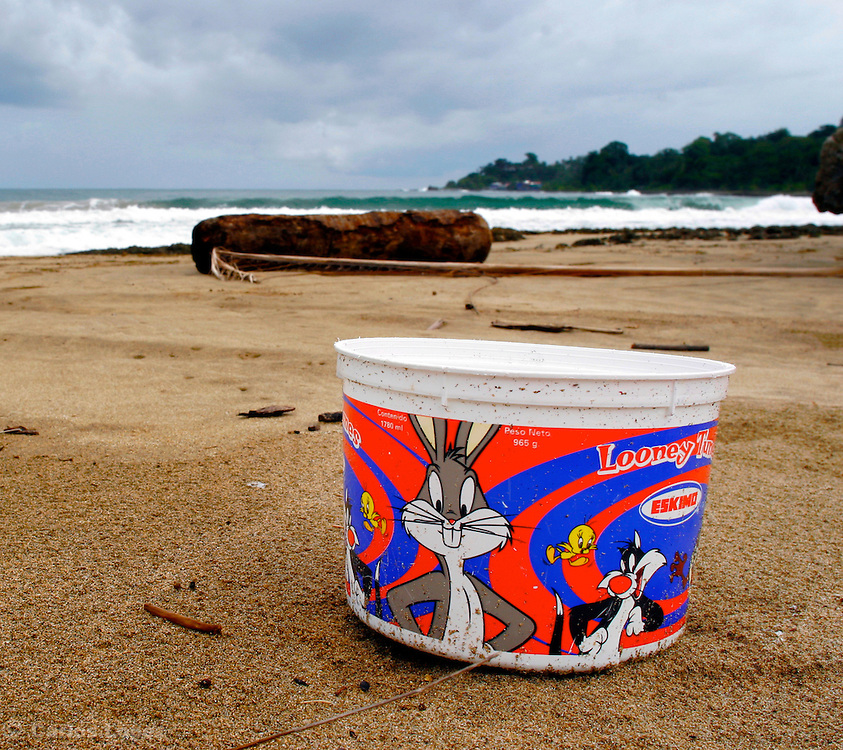 A BOWL OF ICE CREAM WITH THE IMAGE OF BUGS BUNNY, SILVESTRE AND PIOLIN, LYING ON THE BEACH