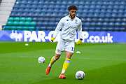 Tyler Roberts of Leeds United (11) warming up during the EFL Sky Bet Championship match between Preston North End and Leeds United at Deepdale, Preston, England on 9 April 2019.