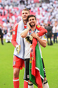 Fulham goalkeeper Marcus Bettinelli (1) and Fulham striker Rui Fonte (9) during the EFL Sky Bet Championship play-off final match between Fulham and Aston Villa at Wembley Stadium, London, England on 26 May 2018. Picture by Jon Hobley.