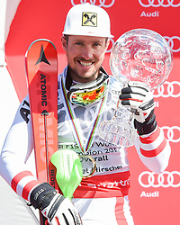 19.03.2017, Aspen, USA, FIS Weltcup Ski Alpin, Finale 2017, Siegerehrung, im Bild Marcel Hirscher (AUT, Gewinner des Riesenslalom, slalom und des Gesamt Weltcups) mit der Kristrallkugel für den Gesamtweltcupsieg // Winner of the Slalom Giant Slalom and Overall World Cup Marcel Hirscher of Austria with the crystal globe for the men's overall World Cup during the winner award ceremony for the overall winner of 2017 FIS ski alpine world cup finals. Aspen, United Staates on 2017/03/19. EXPA Pictures © 2017, PhotoCredit: EXPA/ Erich Spiess
