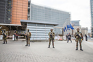 The area around the EU Commission was closed and flags on half pole in the afternoon after the explosion at Maelbeek Metro station and Brussels Airport in Brussels. Photo: Erik Luntang